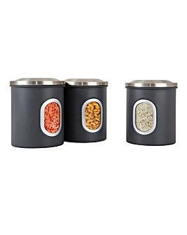 Set of 3 Denby Grey Canisters