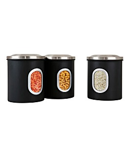 Set of 3 Denby Black Canisters