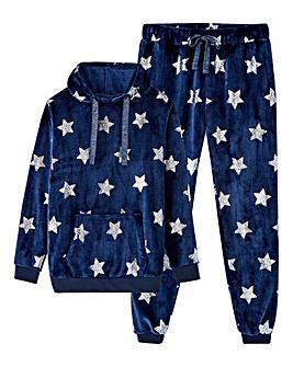 Star Foil Print Hoodie Set