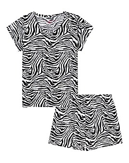 Zebra Print Cotton Jersey Shortie Set