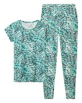 Palm Print Cotton Jersey Legging Set