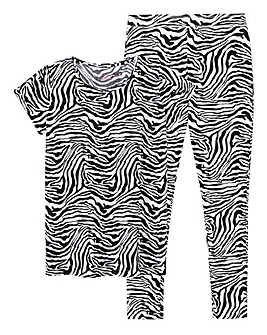 Zebra Print Cotton Jersey Legging Set