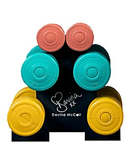 Davina Vinyl Dumbbell Set & Stand - 12kg