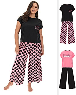 Pretty Secrets 2 Pk Wide Leg PJ Sets