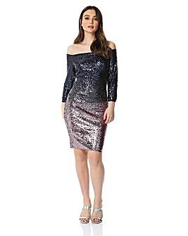 Roman Ombre Sequin Bardot Dress