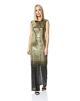 Roman Originals Ombre Sequin Maxi Dress