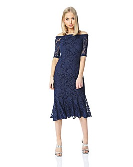 Roman Originals Lace Midi Bardot Dress
