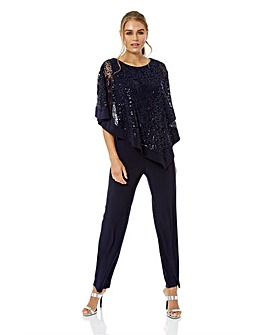 Roman Originals Sequin Overlay Jumpsuit