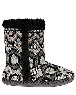 Accessorize Mono Fairisle Knitted Boot