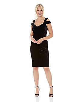 Roman Velvet Cold Shoulder Dress