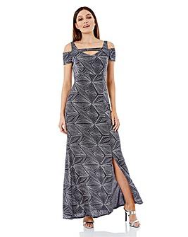 Roman Cold Shoulder Glitter Maxi Dress