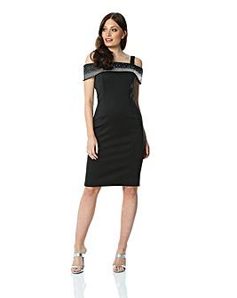 Roman Diamante Cold Shoulder Dress