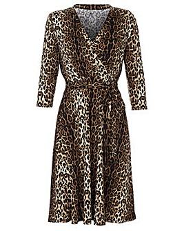 Yumi Curves Leopard Print Wrap Dress