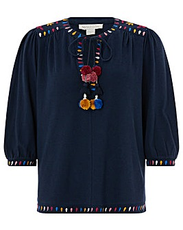 Monsoon Elise Embroidered Top