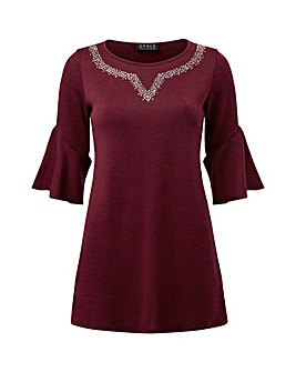 Grace tunic with stud neck detail
