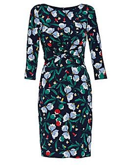 Gina Bacconi Print Twist Knot Dress