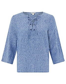 Monsoon Pearl Linen Lace Up Tee