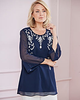 Nightingales Navy Embellished Tunic
