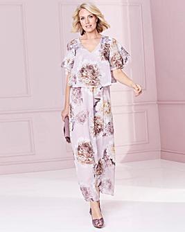 Nightingales Print Chiffon Dress