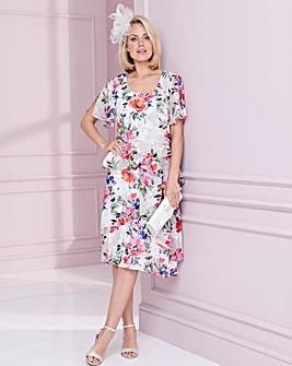 Nightingales Print Layered Dress