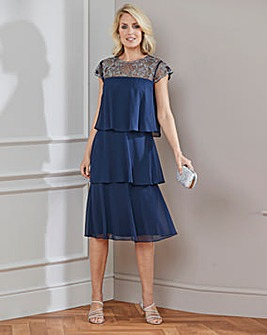 Nightingales Navy Beaded Layered Dress