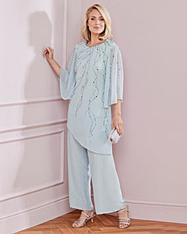 Nightingales Beaded Cape Trouser Set
