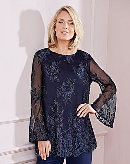 Nightingales Navy Lace Stretch Top