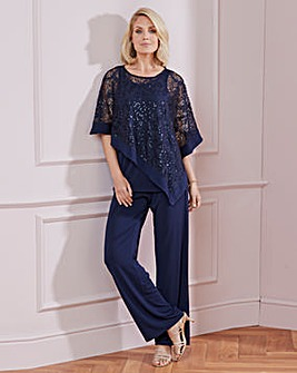 Nightingales Navy Top and Trouser Set