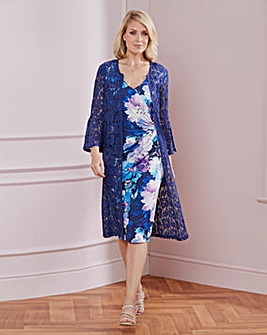 Nightingales Print Wrap Dress and Jacket