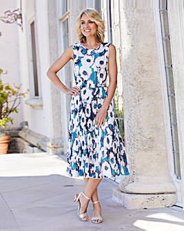 Nightingales Print Pleated Dress