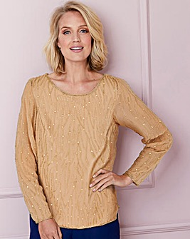 Nightingales Gold Beaded Top