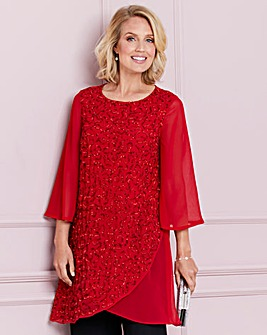Nightingales Red Asymetric Beaded Tunic