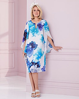 Nightingales Print Sleeve Detail Dress