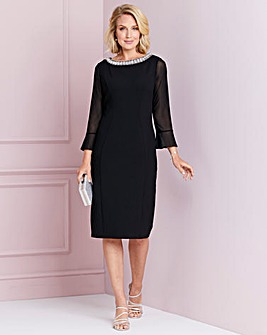 Nightingales Diamante Trim Black Dress
