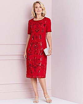 Nightingales Red Sequin Shift Dress