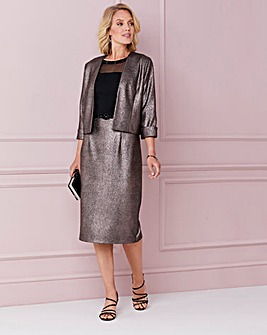 Nightingales Metallic Stretch Dress And Jacket