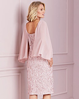 Nightingales Blush Cornelli Cape Dress