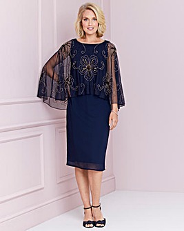 Nightingales Navy/Gold Sequin Cape Dress