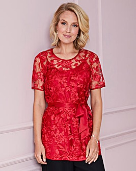 Nightingales Red Embroidered Top