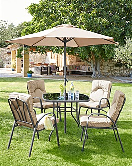 Verona Cushioned 4 Seater Dining Set with Parasol