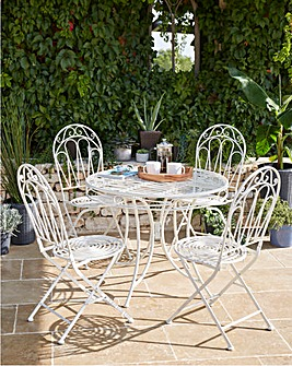 Avignon Metal 4 Seater Circular Dining Set