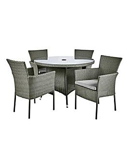 Almeria Rattan 4 Seater Dining Set