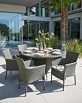 Almeria Rattan 6 Seater Dining Set