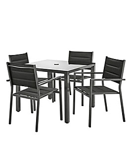 Palma Dining Set with 4 Padded Chairs