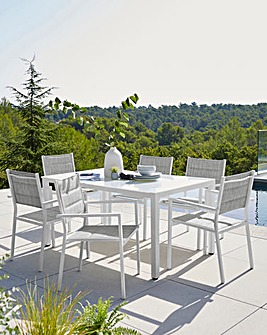 Palma Dining Set with 6 Padded Chairs
