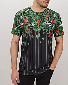 Hype Striped Floral T-Shirt Long