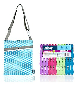 Minky Brites Pegs 36pk and Over The Shoulder Peg Bag