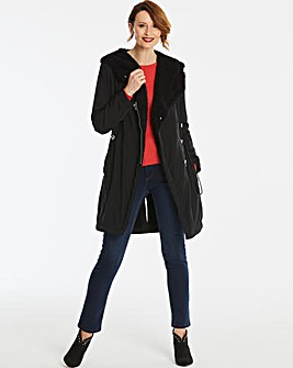Black Faux Shearling Lined Parka