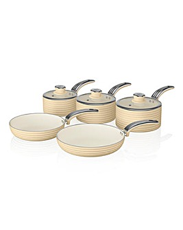 Swan Retro 5 Piece Pan Set Cream