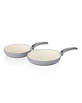 Swan Retro 2 Piece Frypan Set Grey